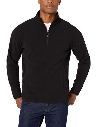 Men Lightweight Jacket - Amazon Essentials Men's Quarter-Zip Polar Fleece Jacket, Black, Medium