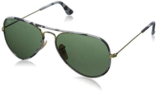 Ray-Ban RB3025JM Aviator Classic Full Color Metal Sunglasses, Gold/Crystal Green, 55 mm (Rb Aviator Small)