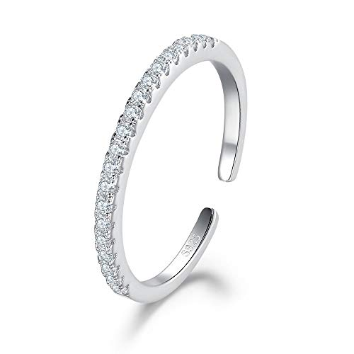 MASOP 2mm Sterling Silver Cubic Zirconia Adjustable Ring Half Eternity Stackable Open Rings Engagement Wedding Bands for Women