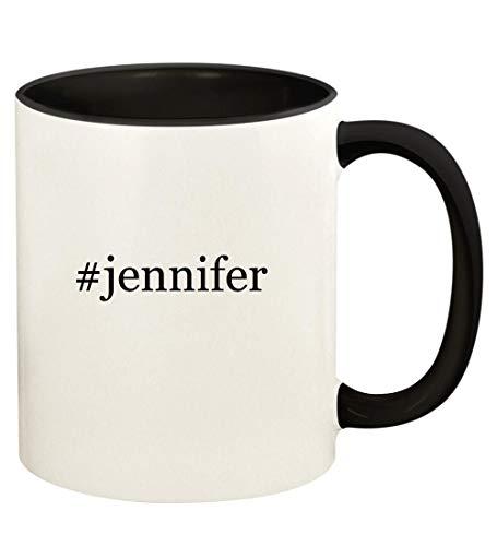 #jennifer - 11oz Hashtag Ceramic Colored Handle and Inside Coffee Mug Cup, Black