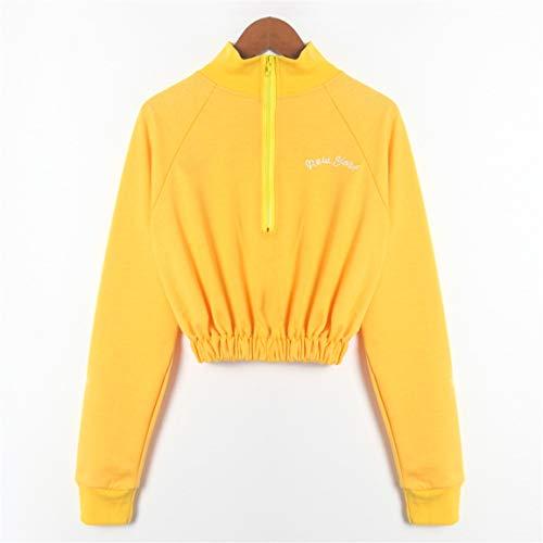 Bellelove Mode Casual Manches Femmes avec Sweatshirt pour Longues Bretelles Manches Longues Zip Over Pull sans Pull Jaune Femmes 2018 ABqznwrvAx