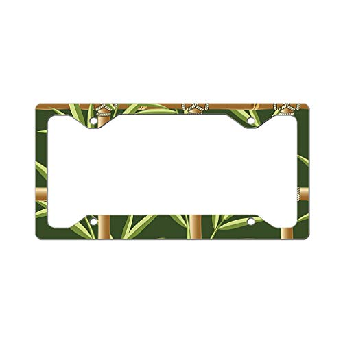 Custom License Plate Frame Bamboo Seamless Pattern Style A Aluminum Cute Car Accessories Narrow Top Design Only One Frame