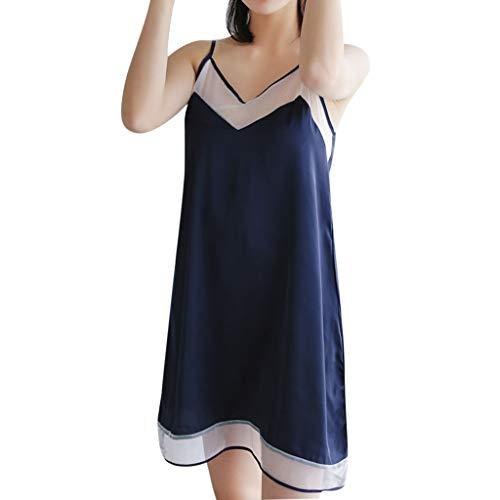 Womens Satin Nightdress Sexy V-Neck Ladies Nightwear Color Block Lingerie Mesh Sleepwear (L, Dark Blue)