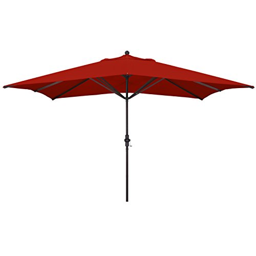 California Umbrella 11' x 8' Rectangle Aluminum Market Umbrella, Crank Lift, Bronze Pole, Sunbrella Jockey Red (Sunbrella Red)