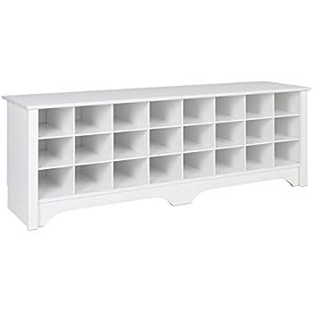 Prepac WSS 6020 24 Pair Shoe Storage Cubby Bench, White