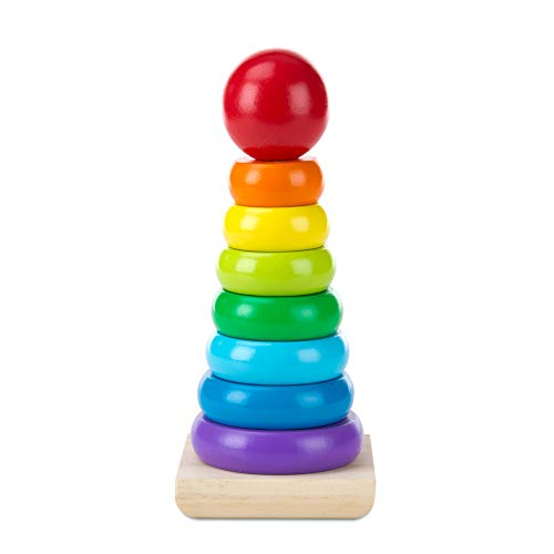Melissa & Doug Rainbow Stacker Classic Toy (Developmental Toys, 8 Smooth Rings, Solid Wood Base, Great Gift for Girls and Boys - Best for Babies, 18 Month Olds, 24 Month Olds, 1 and 2 Year Olds)