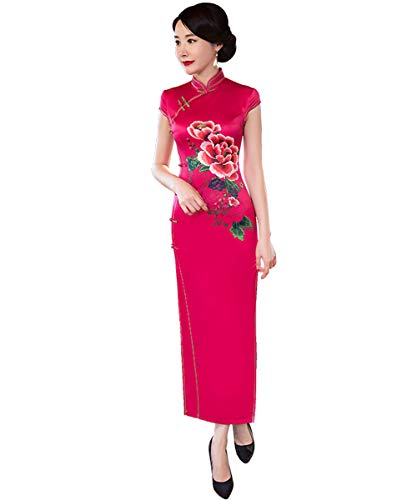 SOLOVEDRESS Women's Vintage Silk Cheongsam Embroidery Chinese Evening Dress Qipao Flower for Girls (Red, US 12)