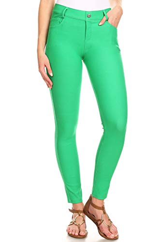 ICONOFLASH Women's Green Jeggings with Pockets - Pull On Skinny Stretch Colored Jean Leggings Size Medium