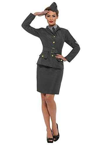 Smiffys WW2 Army Girl Adult Costume-Large Green