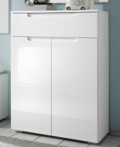 AVANTI TRENDSTORE - Schuhkommode mit 1 Schublade und 2 Türen, weiß / weiß Hochglanz Dekor, ca 70x101x40cm