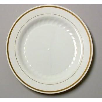 Masterpiece Plastic 10.25-inch Plates Ivory w/Gold Rim 12 Per Pack  sc 1 st  Amazon.com & Amazon.com: Masterpiece Plastic 10.25-inch Plates Ivory w/Gold Rim ...