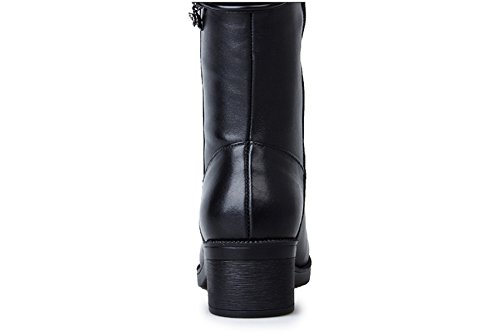 MSM4 Ms. Spring And Autumn Leather Boots High Boots Martin Boots Black EM9Gj5gLsn