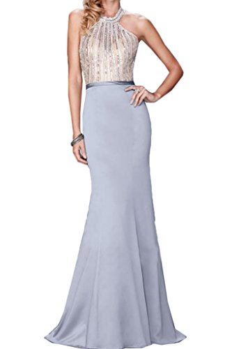 Abendkleid Steine Damen Ivydressing Rueckenfrei Hochwertig Neckholder Promkleid Festkleid Paikkette Partykleid Silber 4Czw4Uq