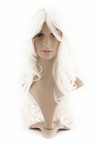 White Hair Wig (MapofBeauty Charming Synthetic Fiber Long Wavy Hair Wig Women's Party Full Wig (White))