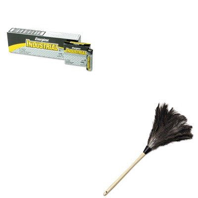 KITEVEEN91UNS23FD - Value Kit - Economy Ostrich Feather Duster, 23quot; (UNS23FD) and Energizer Industrial Alkaline Batteries (EVEEN91) Economy Ostrich Feather Duster