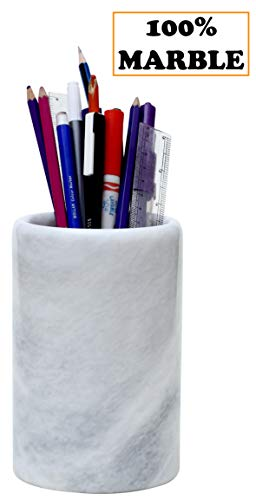 "Office Supplies Handmade Marble 4.5x4.5x6.5 Inch"" Caddy Classroom Desk Stationary Organizer - Desktop Pens, Pencil Holder - Non Wood Non Steel -Countertop Table Organizers Décor Supply Holders (WZ-03)"
