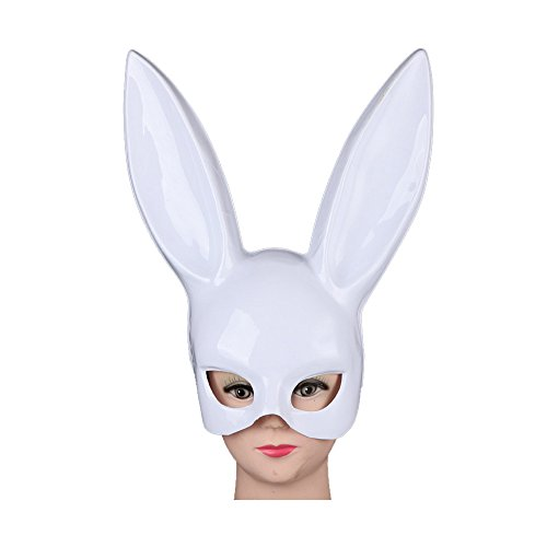 JJLIAN Halloween Makeup Ball Rabbit Ear Mask Bunny Mask Easter Bunny Mask (Bright White)
