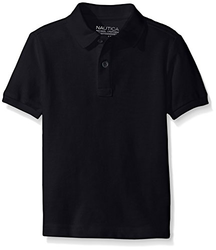 Nautica Husky Boys' Uniform Short Sleeve Pique Polo, Navy, X-Large/18/20 - Husky