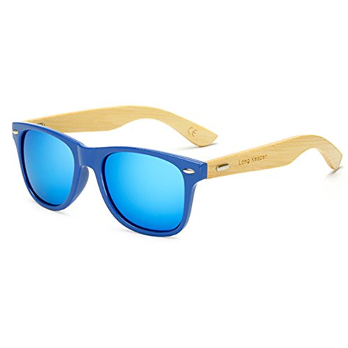 Long Keeper Bamboo Wood Arms Sunglasses for Women Men (Blue, - Sunglasses With Wooden Arms