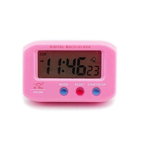 Serendipity Mini Digital Table Top Desk Alarm Clock with Stopwatch Function, Night Back Light, Snooze, Battery Operated, Small, Pink