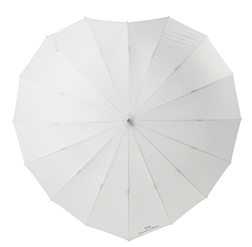 ''FOREVER LOVE'' Print - Heart Shaped Bridal Wedding Umbrella - IVORY by The Stunning Bride