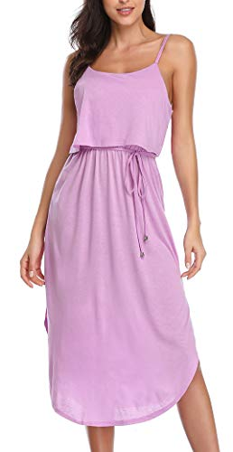 Women's Causal Adjustable Summer Spaghetti Straps Dress Split Sleeveless Midi Dress Purple ()