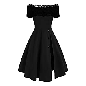 LOPILY Women's Rockabilly Swing Cocktail Dress Bardot Lace Split High Waist Tunic Dress Solid Short Sleeve Ruched Party Dresses A Line Evening Dresses