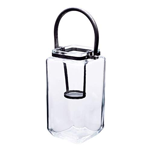 Diamond Star Glass Candle Lantern Decorative Candle Holder Outdoor Table Lantern with Metal Handle (L(4.3