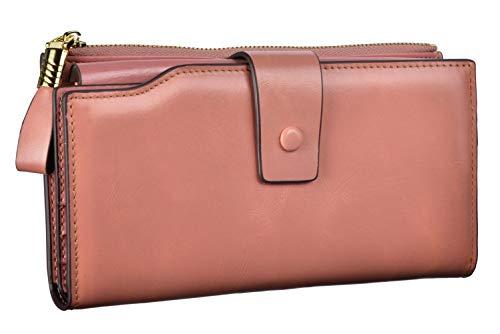 Women's RFID Large Capacity Luxury Genuine Leather Clutch Wallet Ladies Purse (Wax Pink)