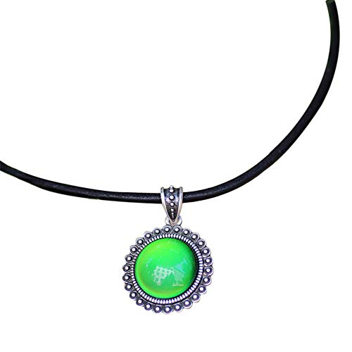 Handmade Mood Stone in Antique Sterling Silver Finish Classic Round Shaped Pendant Magic Color Change Mood Necklace Leather Necklace (Mood Stone Necklace)