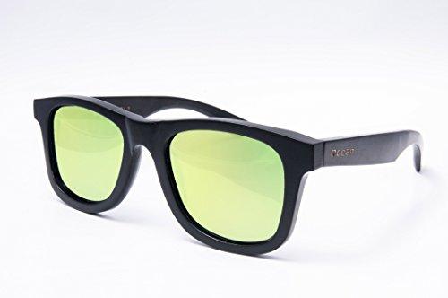 polarizadas Ocean Montura de wood Lentes sol 53001 de Espejo 2 Sunglasses Bambú gafas Negro Victoria Naranja rrzYqT