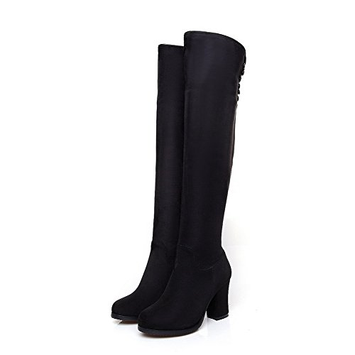 Black with Suede WeiPoot Toe Heels Women's Chunky Boots Closed Imitated Zippers and RqqS4WOP