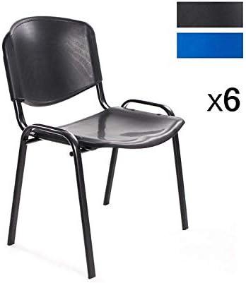 Sedie Plastica Impilabili Economiche.Notek Srl Set Di 6 Sedie Per Sala D Attesa Ufficio Riunione