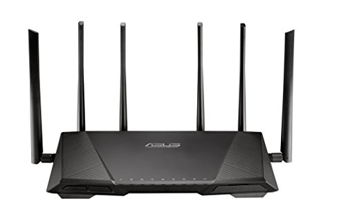 ASUS AC3200 Wireless Tri-Band (Dual 5GHz + Single 2.4GHz) Gigabit Wi-Fi Router [RT-AC3200] Ultra-Fast 802.11ac 3200 Mpbs Wi-Fi Speed, 3 x 3 Antenna Design, 4 Gigabit LAN Ports, AiProtection Security