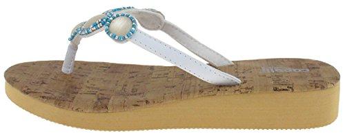 Capelli New York Perlemor Og Perle Trim Damene Flip Flop Hvit Combo