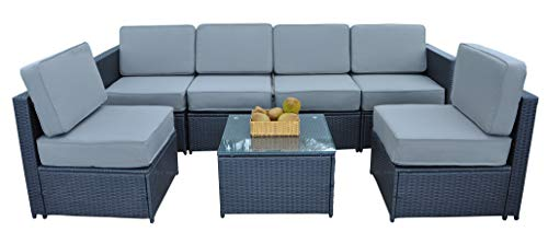 MCombo Cozy Outdoor Garden Patio Rattan Wicker Furniture Sectional Sofa Gray Cushioned Seats 6085
