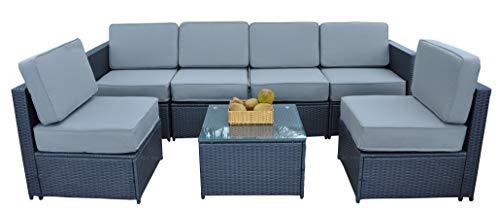 MCombo Cozy Outdoor Garden Patio Rattan Wicker Furniture Sectional Sofa Gray Cushioned Seats 6085
