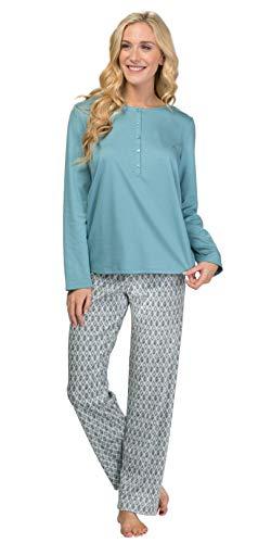 Calida Long Sleeve Cotton Knit Long Length Button Front Pajamas - Tiffany Mosaic (Blue Turquoise, L)