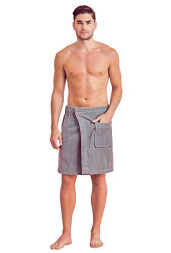Soft Touch Linen Towel Wrap for Men - Terry Cotton Adjustable Bath Towel with Turkish Weaving (One Size, Gray)