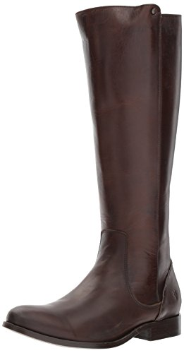 - FRYE Women's Melissa Stud Back Zip Riding Boot, Chocolate, 9 M US