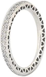 Hearts of PANDORA Sterling Silver Ring 190963CZ, Different Sizes Available (8.5 / 58)