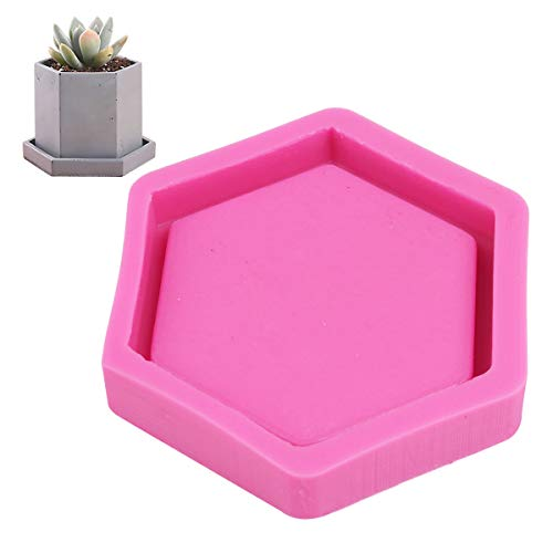 CHICTRY Hexagon Shaped Succulent Plant Flowers Pot Silicone Mold Handmade Craft DIY Fleshy Planter Bonsai Ashtray Candle Holder Mould Pink One Size -