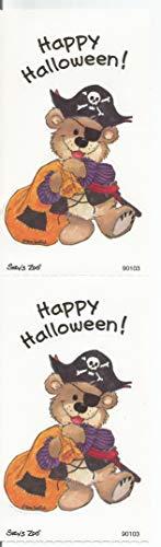 Suzy Zoo Boof Bear Dressed in Pirate Halloween Costume Sticker Strip of 2 Modules