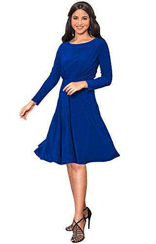 KOH KOH Long Sleeve Semi Formal Flowy Party Work Knee Length Midi Dresses