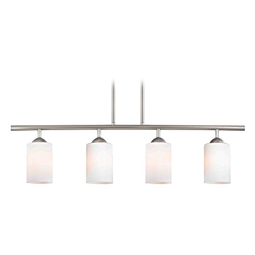 Modern Island Light with White Glass in Satin Nickel Finish (Satin Light Island Nickel)