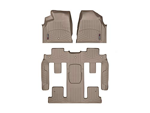 WeatherTech Custom Fit FloorLiner - 452511-459423 - 1st Row, 1-Piece 2nd/3rd Row (Tan) (Weathertech Mats For Floor Buick)