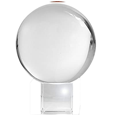 Amlong Crystal Meditation Ball Globe with Free Crystal Stand, 80mm