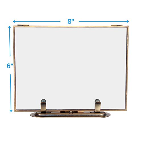 CANDIKO Floating 6x8 Picture Frame Table Top Metal Photo Frame (Antique Gold, Portrait or Landscape)