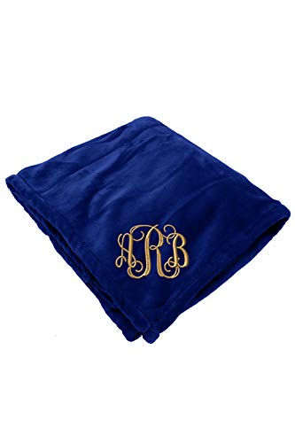 Zynotti Personalized Embroidered Monogram Navy Throw Blanket Size 50x60 Fleece Monogram Blanket for Bed or Couch