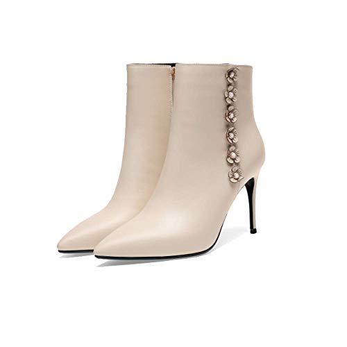 Femmes pour Beige Sauvage Fermeture Chaussons Pointus Talons Hauts Chaussures Mode ZPEDY éclair vwqPn